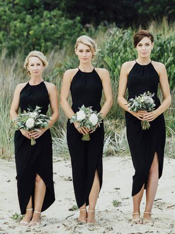 Simple Black Side Slit Short Bridesmaid Dresses, Cheap Unique Teal Length Bridesmaid Gown, BD125