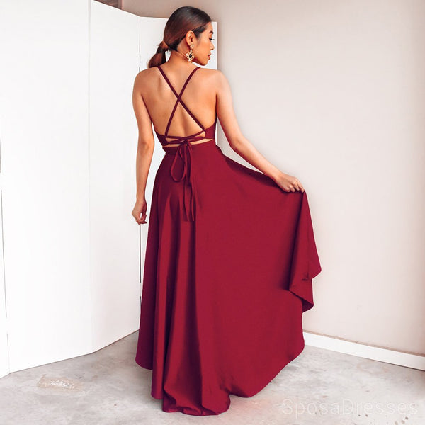 Sexy Simple High Low Backless Evening Prom Dresses, Cheap Custom Sweet 16 Dresses, 18490