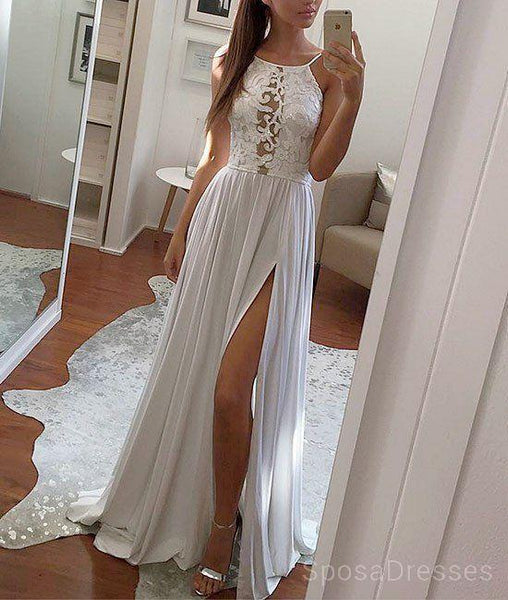 Sexy Backless Side Slit  White Evening Prom Dresses, Cheap Custom Sweet 16 Dresses, 18491