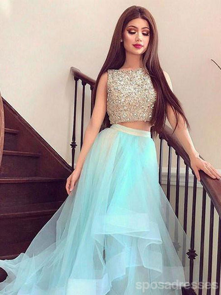 Two Pieces Beaded Tiffany Blue Skirt High Low Custom Evening Prom Dresses, 17436