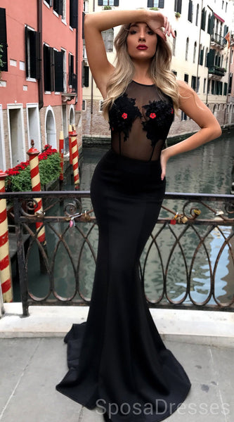 Sexy Backless See Through Mermaid Black Evening Prom Dresses, Cheap Custom Sweet 16 Dresses, 18492