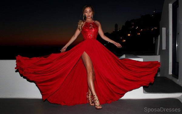 Sexy Backless Side Slit Mermaid Red Evening Prom Dresses, Cheap Custom Sweet 16 Dresses, 18494