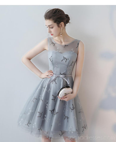 Simple Open Back Grey Lace Cheap Homecoming Dresses Online, Cheap Short Prom Dresses, CM782