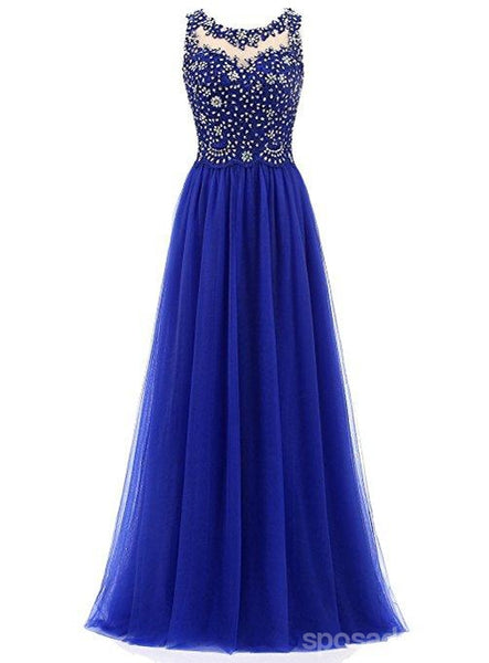Royal Blue Lace Beaded See Through Chiffon Long Evening Prom Dresses, 17530