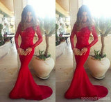 Red Long Sleeve Lace Mermaid Prom Dresses, Long sleeve Evening Party Dresses,  17008