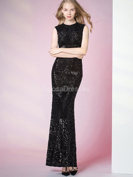 Sparkly Black Sequin Mermaid Long Evening Prom Dresses, Evening Party Prom Dresses, 12292