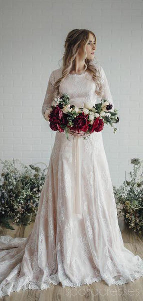 Modest Long Sleeves Lace A-line Wedding Dresses Online, Cheap Beach Bridal Dresses, WD479