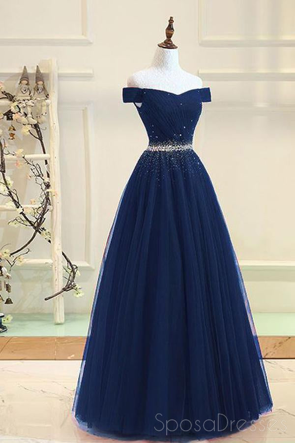 Off Shoulder Navy Tulle A line Beaded Long Evening Prom Dresses, 17694
