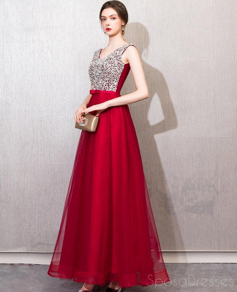 Red V Neck Beaded Cheap Long Evening Prom Dresses, Cheap Custom Sweet 16 Dresses, 18523