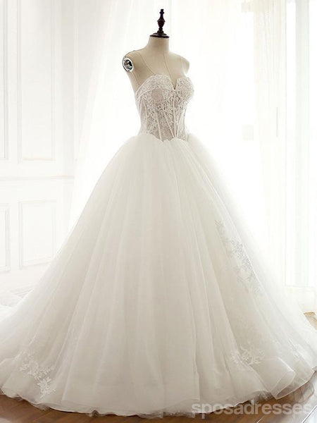 Strapless Sexy See Through Lace A line Wedding Bridal Dresses, Affordable Custom Made Wedding Bridal Dresses, WD269