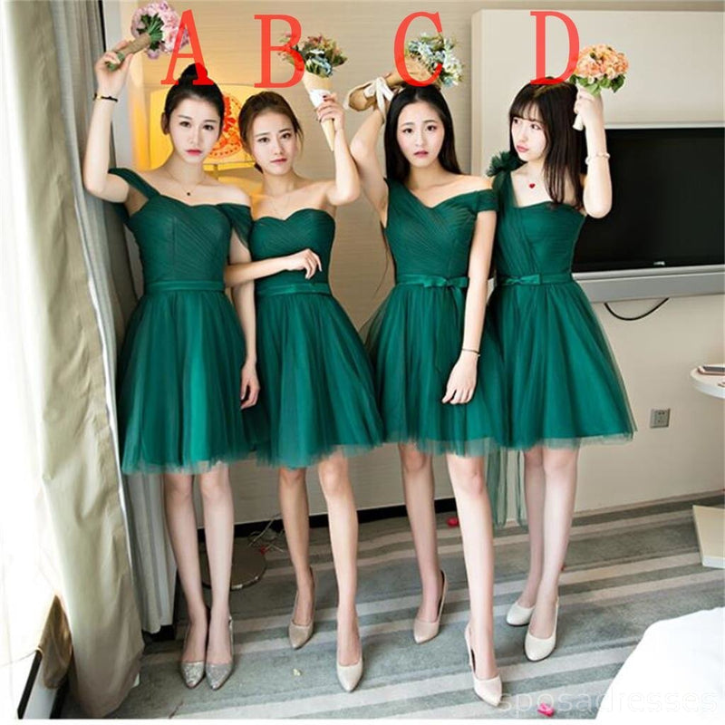 Mismatched Dark Green Tulle Short Bridesmaid Dresses, Cheap Custom Short Bridesmaid Dresses, Affordable Bridesmaid Gowns, BD023