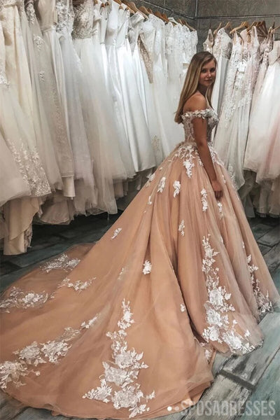 Off Shoulder Lace Applique Wedding Dresses Online, Cheap Bridal Dresses, WD646
