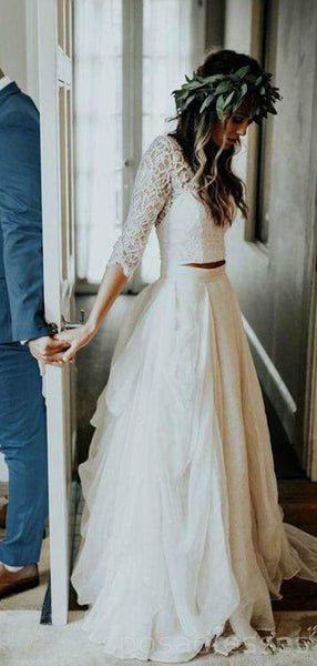 Long Sleeves Two Pieces Beach Wedding Dresses Online, Cheap Beach Bridal Dresses, WD471