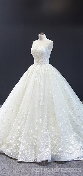 Scoop A-line Cute Lace Wedding Dresses Online, Cheap Bridal Dresses, WD619