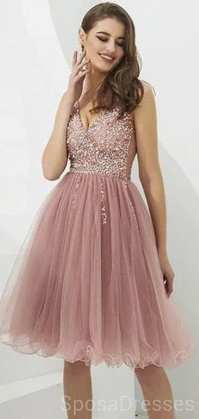 V Neck Dusty Pink Tulle Beaded Short Homecoming Dresses Online, Cheap Short Prom Dresses, CM845