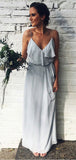 Spaghetti Straps Grey Chiffon Cheap Bridesmaid Dresses Online, WG762