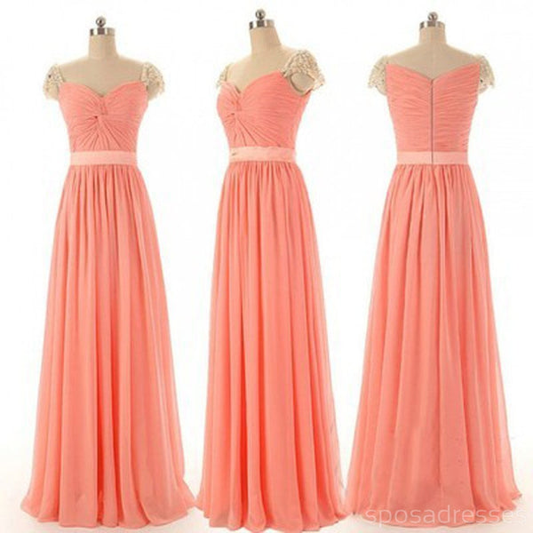 Beautiful Beading Cap Sleeve Sweet Heart Chiffon Inexpensive Long Bridesmaid Dresses, Simple Cheap Prom Dress, WG14
