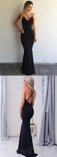 Black Backless Mermaid Evening Prom Dresses, Long Simple Party Prom Dress, Custom Long Prom Dresses, Cheap Formal Prom Dresses, 17122