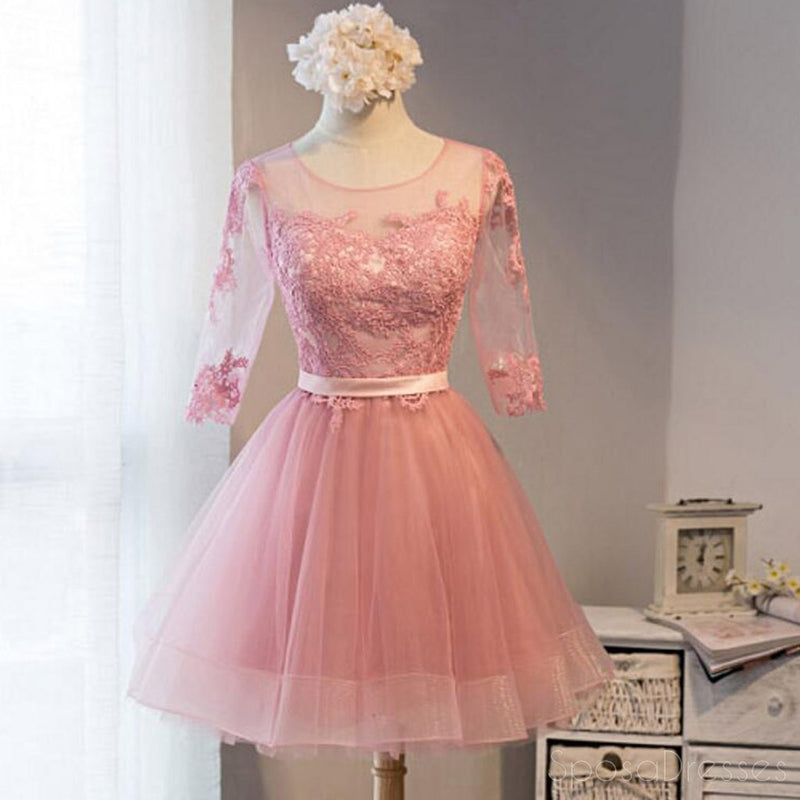 Long Sleeve Pink Lace Short Homecoming Prom Dresses, Affordable ...
