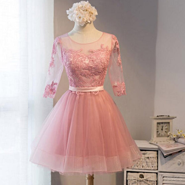 c8f641a99bf Long Sleeve Pink Lace Short Homecoming Prom Dresses