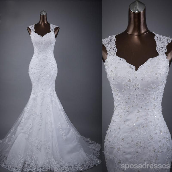 Cap Sleeve Lace Mermaid Wedding Bridal Dresses, Custom Made Wedding Dresses, Affordable Wedding Bridal Gowns, WD248