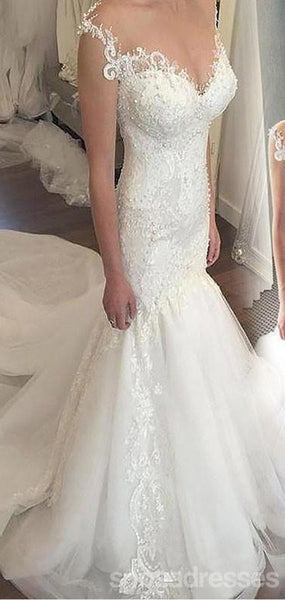 Cap Sleeves Lace Beaded Mermaid Cheap Wedding Dresses Online, WD414