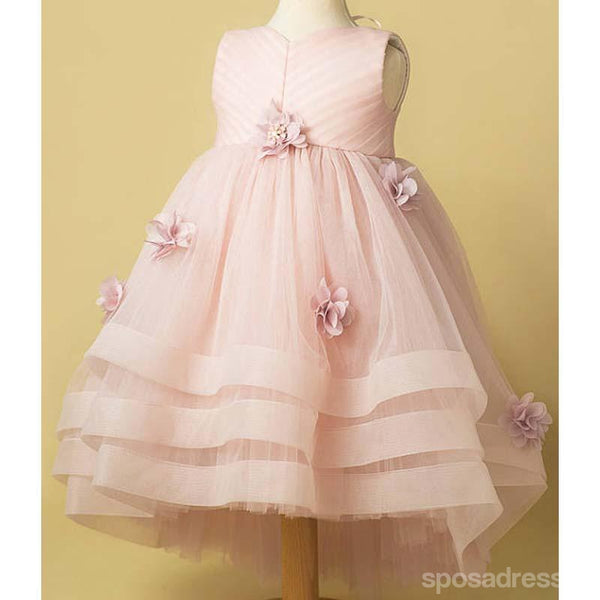 Light Pink Tulle Handmade Flower Little Girl Dresses, Cheap Flower Girl Dresses, FG071