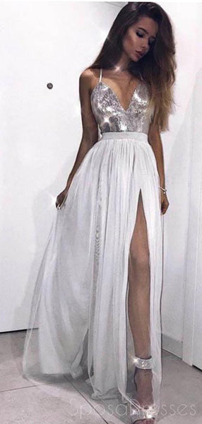 Halter Side Slit Grey Sequin Tulle Long Evening Prom Dresses, Cheap Sweet 16 Dresses, 18384