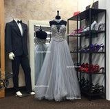 Strapless Gray Heavily Beaded A line Long Evening Prom Dresses, Popular Cheap Long 2018 Party Prom Dresses, 17280
