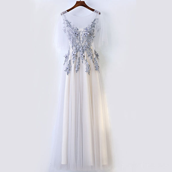 d654cfb61a4da0 Scoop Neckline Grey Lace Tulle A line Evening Prom Dresses, Popular Gray  Party Prom Dresses