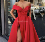 Off Shoulder Red Cheap Long Evening Prom Dresses, Evening Party Prom Dresses, 12293
