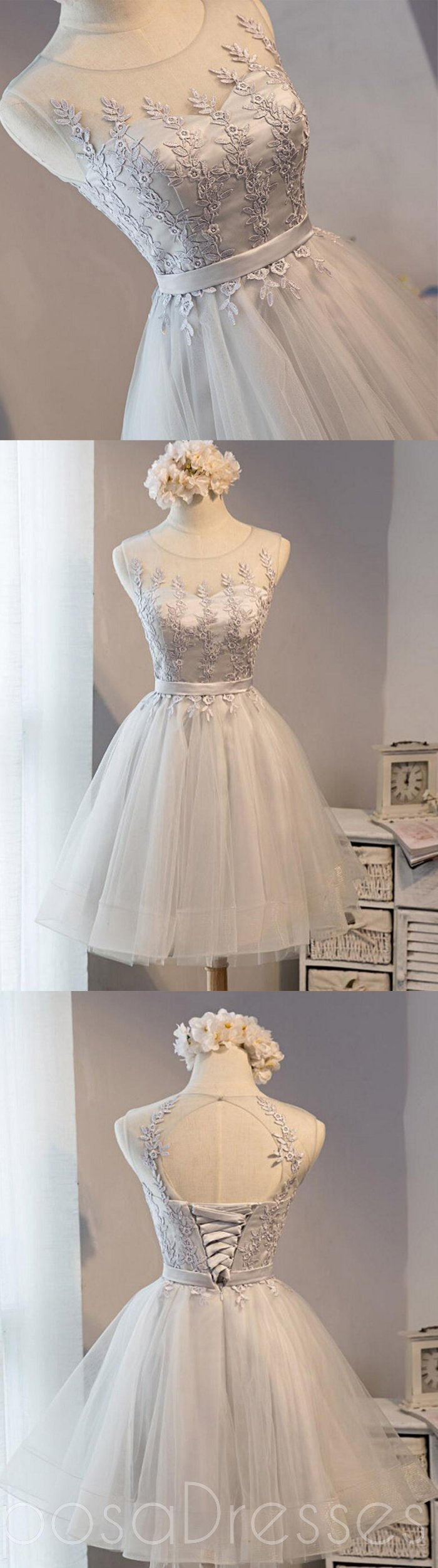 Cute Gray Lace Short Homecoming Prom Dresses, Affordable Short Party ...
