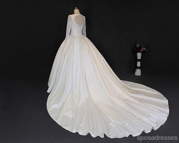 V Neckline Long Sleeve Lace A line Long Tail Wedding Dresses, Sexy Open Back Custom Made Long Wedding Gown, Cheap Wedding Gowns, WD206