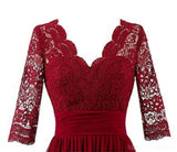 Dark Red Long Sleeve Lace Short Bridesmaid Dresses, Cheap Custom Short Bridesmaid Dresses, Affordable Bridesmaid Gowns, BD024