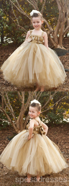 Brown Tulle Pixie Tutu Dresses, Popular Flower Girl Dresses, Free Custom Dresses, FG021