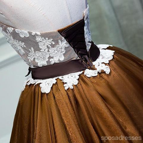 Strapless Lace Brown Skirt Homecoming Prom Dresses, Affordable Short Party Prom Sweet 16 Dresses, Perfect Homecoming Cocktail Dresses, CM365