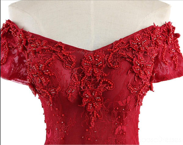 Red Lace  Sexy Off Shoulder Long Evening Prom Dresses, Popular 2018 Party Prom Dresses, Custom Long Prom Dresses, Cheap Formal Prom Dresses, 17218