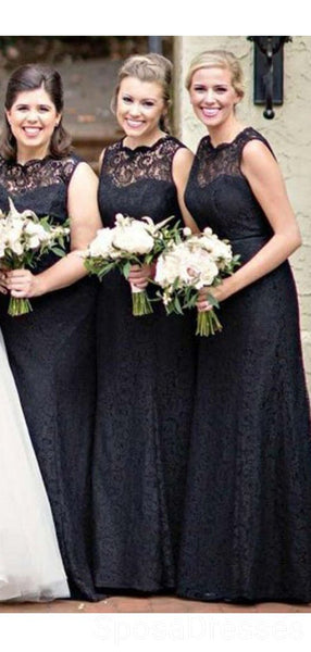 Black Lace Illusion Mermaid Cheap Long Cheap Bridesmaid Dresses Online, WG628