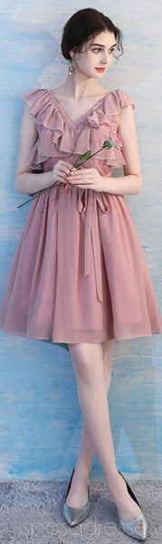 Dusty Pink Chiffon Mismatched Simple Cheap Bridesmaid Dresses Online, WG513