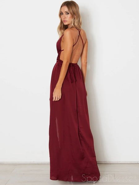 Simple Maroon Side Slit Cheap Long Evening Prom Dresses, Evening Party Prom Dresses, 12197
