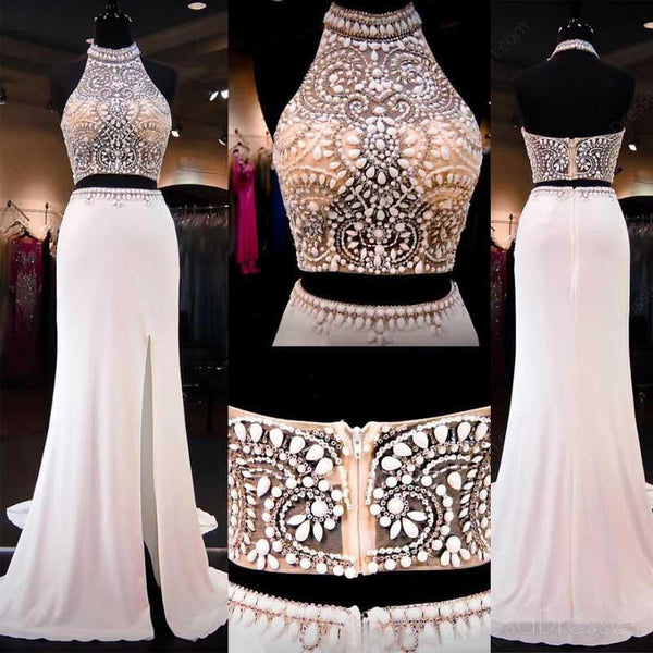 Two Pieces Mermaid Evening Prom Dresses, 2017 Long Halter Beaded Prom Dress, Custom Long Prom Dress, Cheap Party Prom Dress, Formal Prom Dress, 17035