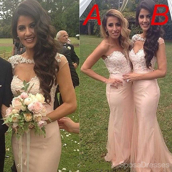 Junior Sexy Mermaid Mismatched Sweet Heart Blush Pink Bridesmaid Dresses, WG92