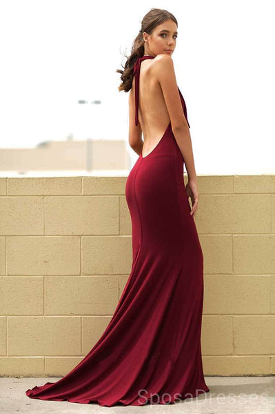 Mermaid Halter Backless Sexy Evening Prom Dresses, Cheap Custom Sweet 16 Dresses, 18498