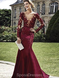Maroon Long Sleeves Scoop Neck Lace Mermaid Long Evening Prom Dresses, Evening Party Prom Dresses, 12201