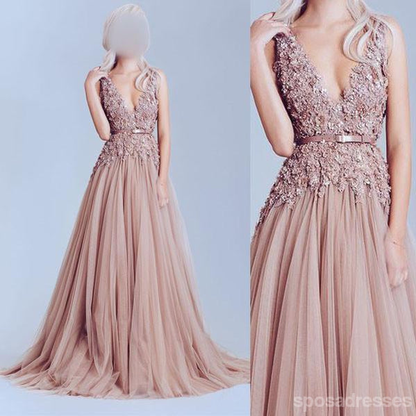 Deep V Neckline Lace prom Dresses, Dusty pink prom Dress, A line Evening Prom Dresses, 17009