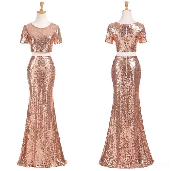 Sexy Two Pieces Short Sleeve Cheap Gold Sequin Long Bridesmaid Dresses, BD111