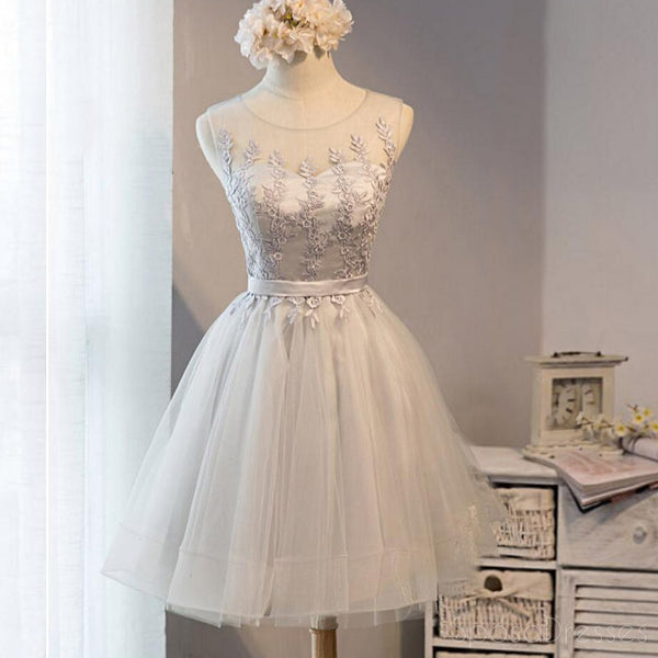 Cute Gray Lace Short Homecoming Prom Dresses, Affordable Short Party Prom Sweet 16 Dresses, Perfect Homecoming Cocktail Dresses, CM372