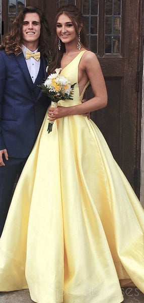 Cheap Yellow V-Neck A-line Long Evening Prom Dresses, Cheap Party Custom  Prom Dresses, 18616