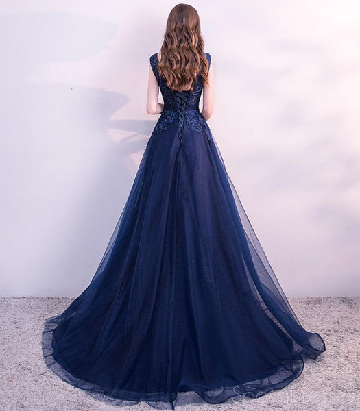 Scoop Navy Lace Beaded Long Evening Prom Dresses, Cheap Custom Sweet 16 Dresses, 18525