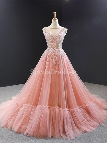 Peach Scoop Beaded Ruffle Long Evening Prom Dresses, Evening Party Prom Dresses, 12255